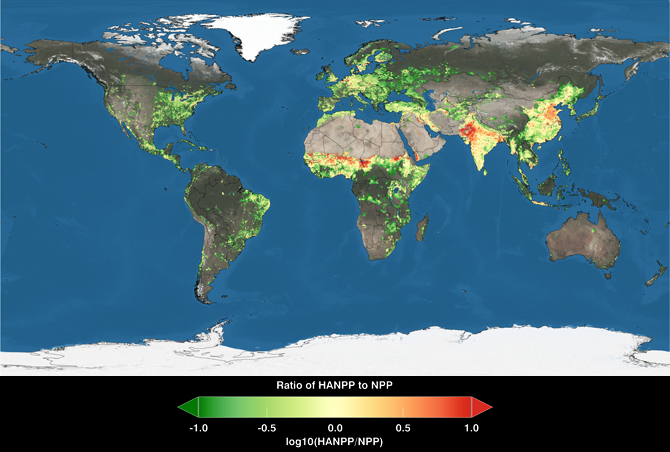 global map shows total consumption by region of photosynthetic plant material as a percentage of the plant material grown by region