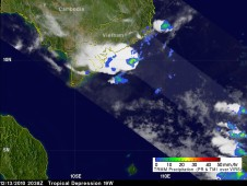 TRMM saw the heaviest rainfall of about 2 inches per hour (red) occurring off the Vietnam coast.