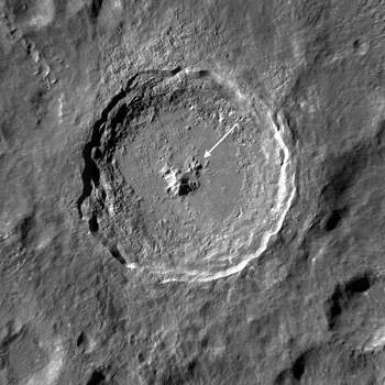 LROC WAC mosaic with arrow noting the location of the melt