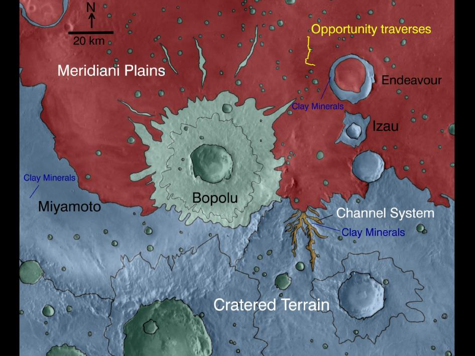 Map indicates geological units in a region of Mars