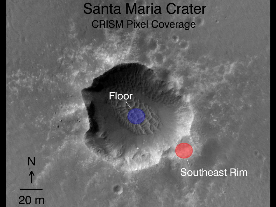 Orbital observations of crater on Mars rover's route