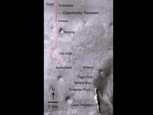 Opportunity's path on Mars