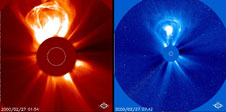 A coronal mass ejection on Feb. 27, 2000 taken by SOHO LASCO C2 and C3. A CME blasts into space a billion tons of particles traveling millions of miles an hour.