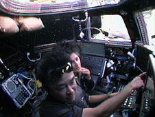 Commander Suni Williams and Flight Engineer Aki Hoshide in cupola