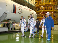 JSC2011-E-027674: Expedition 27 and Soyuz booster