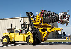 The Hyster forklift used to install shuttle main engines.