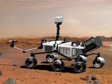Artist's concept of Curiosity rover on Mars