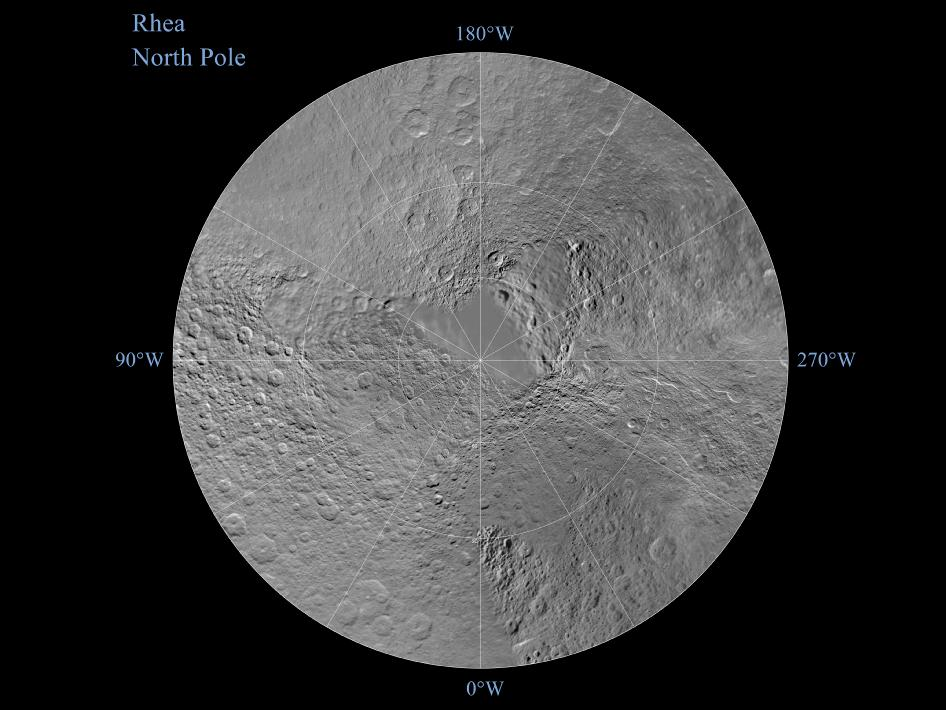 Northern hemisphere of Saturn's moon Rhea
