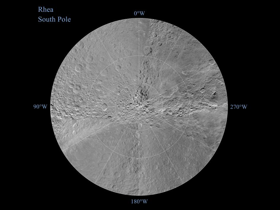 Southern hemisphere of Saturn's moon Rhea