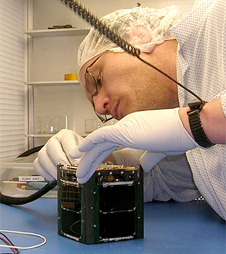 Student Keith Mashburn tests the Explorer-1 Prime satellite