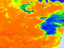 AIRS instrument captured an infrared image Omeka's cold cloud tops (blue), which warmed since the day before.