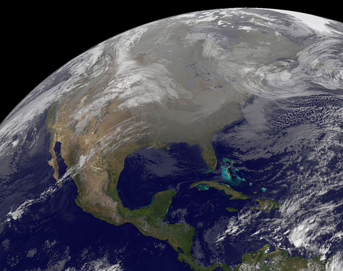 GOES image of North America