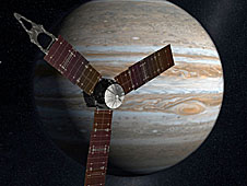 An artist's drawing of the Juno spacecraft flying in front of Jupiter