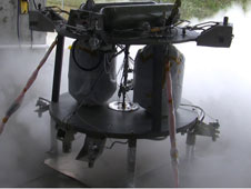 The robotic lander prototype's propulsion system, shown during a hot-fire test.