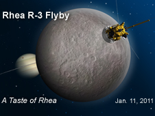 Artist concept of the Cassini spacecraft flying by Saturn's moon Rhea on Jan 11, 2011