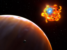 artists' concept of a red dwarf emitting powerful flares