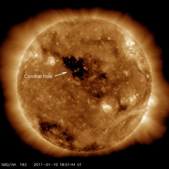 SDO image of the sun showing coronal hole