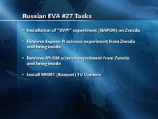 Russian EVA 27 tasks