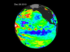 The La Nina is evident by the large pool cooler than normal water stretching from the eastern to the central Pacific Ocean.