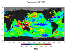 The new image depicts places where the Pacific sea surface height is warmer than normal as yellow and red, with places where the sea surface height is cooler than normal as blue and purple.