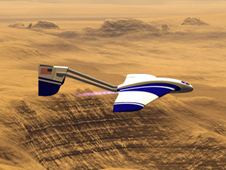Artist's concept of the ARES Mars airplane flying over Mars.