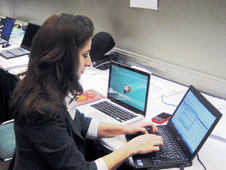 Natalie Batalha typing during the Jan. 10 exoplanet web chat.