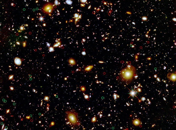 Hubble Deep Field showing candidates for lensing