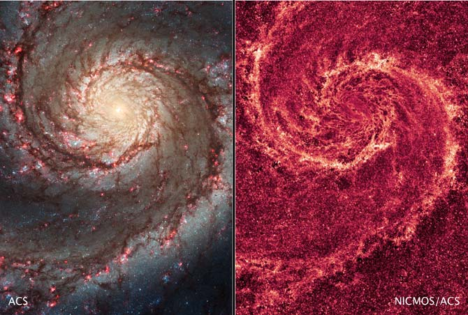 These images by NASA's Hubble Space Telescope show off two dramatically different views of the spiral galaxy M51, dubbed the Whirlpool Galaxy.