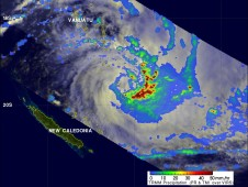 TRMM's daytime look at tropical cyclone Vania in the south Pacific Ocean near Vanuatu on January 12, 2011