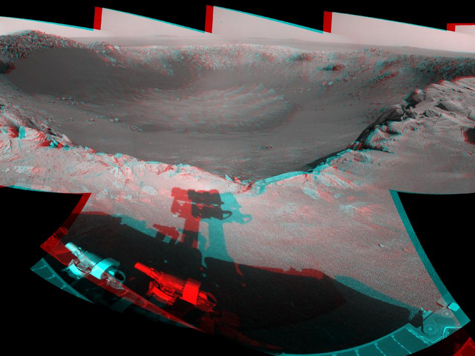 View of 'Santa Maria' Crater from Western Rim, Sol 2454 (Stereo)