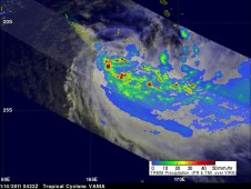 TRMM captured this image of Tropical Storm Vania's rainfall on January 14 at 0422 UTC.