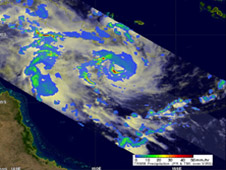 NASA's TRMM satellite captured this image of Tropical Storm Zelia's rainfall on January 14 at 0417 UTC.