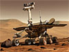 Artist concept of a rover on Mars