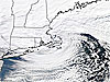 Satellite image of a winter storm on the East Coast of the U.S.