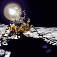 Sunlight reflecting off the Apollo 14 lander