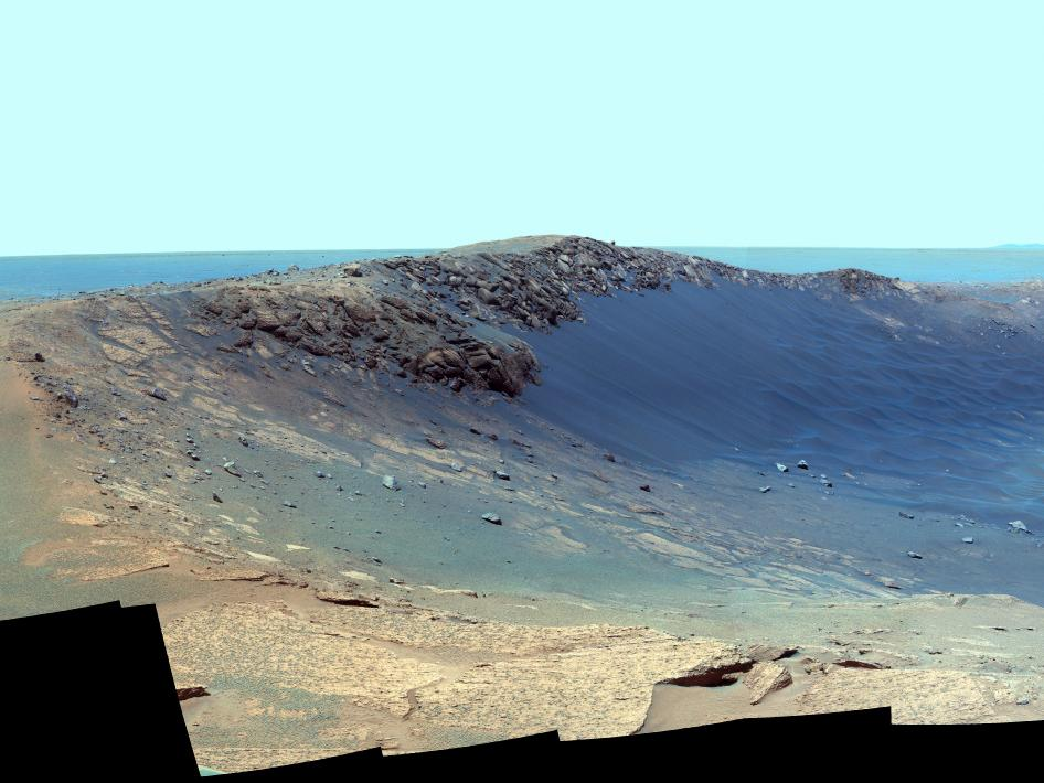 Panorama of 'Santa Maria' Crater for Opportunity's Anniversary (False Color)