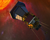 The Solar Probe Plus spacecraft with solar panels folded into the shadows of its protective shield, gathers data on its approach to the Sun. Credit: JHU/APL