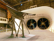 Engineers install a blended wing body scale prototype in the Full-Scale Tunnel
