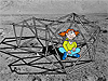 Cartoon girl sitting in a homemade lunar habitat