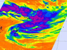 AIRS captured an infrared image of Wilma's cloud top temperatures.