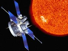 Artist rendition of ACE spacecraft observing the sun.