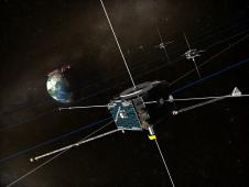 Artist rendition of THEMIS spacecraft.