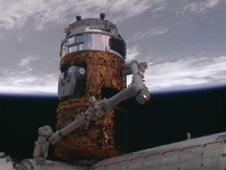 HTV2 is attached to the Harmony module by the station's robotic arm