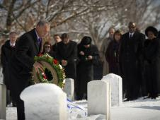 NASA Administrator Charles Bolden participates in a wreath-laying ceremony as part of NASA's Day of Remembrance, Thursday, Jan. 27, 2011, at Arlington National Cemetery.