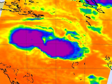 AIRS image of Anthony seems to have two large areas of high, cold thunderstorm cloud tops (purple) with intense precipitation.