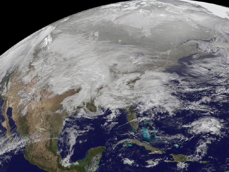 NASA GOES-13 satellite photo of storm of Midwest U.S.