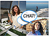 Collage of pictures of two women and a bubble with the word Chat