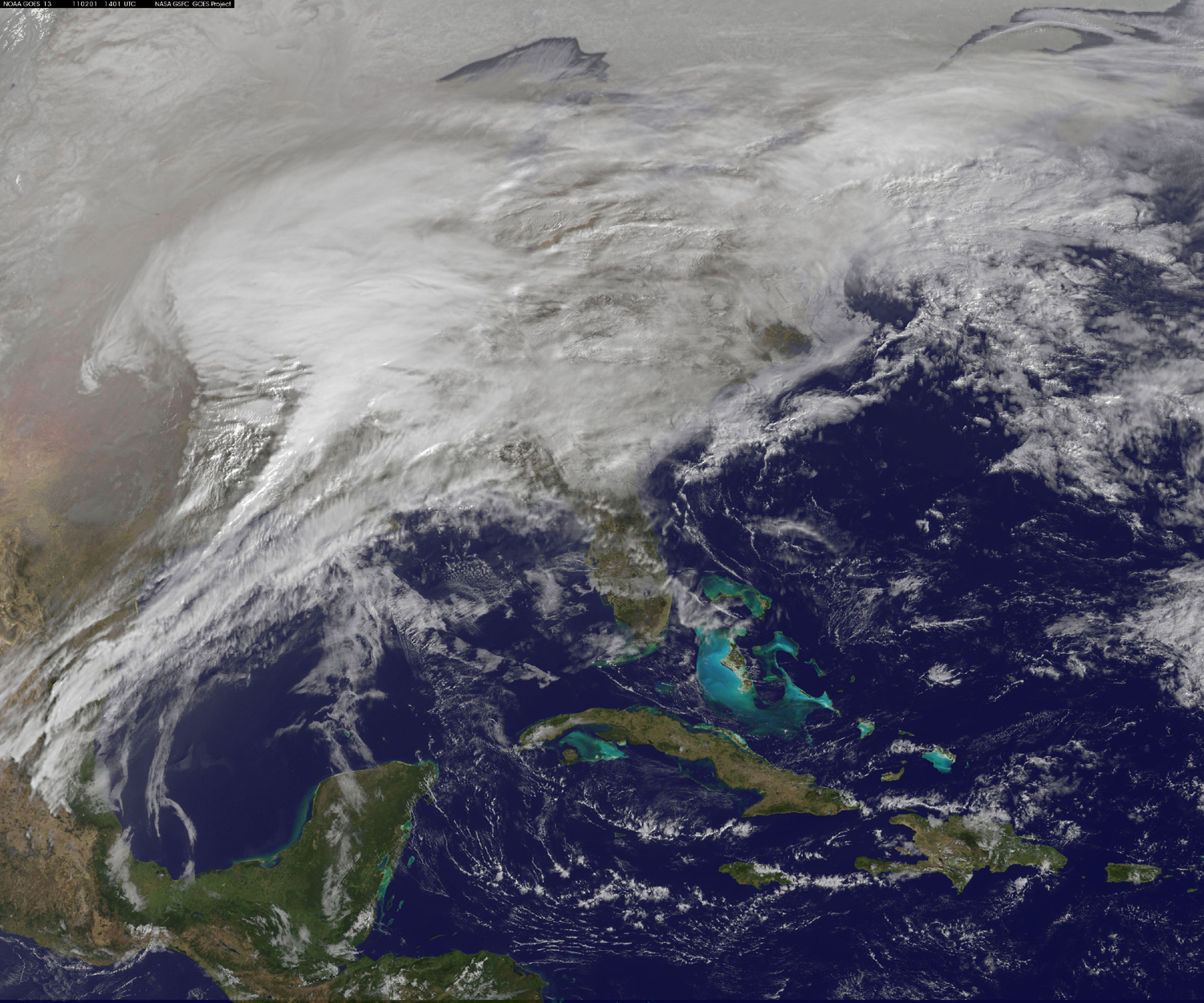 Nasa image of Feb 2, 2011 storm over Eastern US