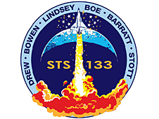 The mission patch features the space shuttle and Earth
