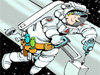 Cartoon of astronaut conducting a spacewalk